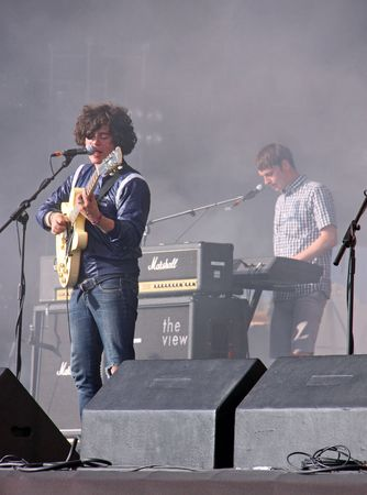 kyle: Hop Farm Music Festival, Kent, UK 4th July 2009 Kyle Falconer of The View indie  rock band playing on stage Editorial