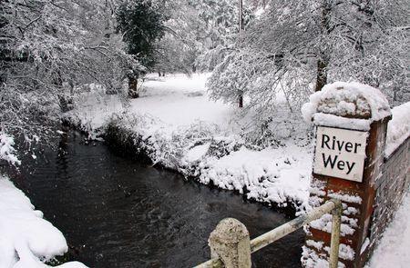 bridged: Rural countryside scene of a bridged stream in winter snow through woodland trees Stock Photo