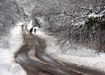 A family walking along a winter snow covered road through rural forest trees and woodland countryside photo