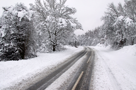 winter road: Cold winter landscape of a road through forest trees and heavy snow