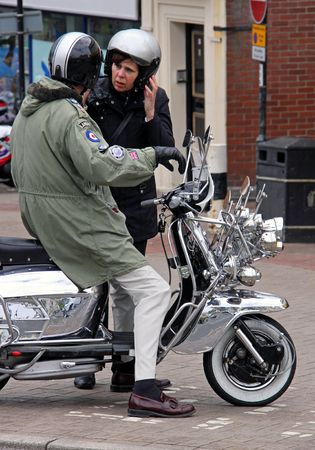 Hastings UK, May 3rd 2010, a Mod and scooter at the Annual May Day Weekend Biker meet-up, Hastings Seafront