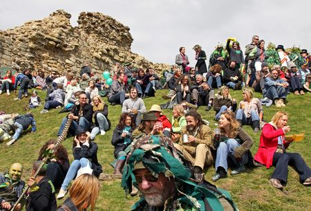 hastings: Hastings UK, May 3rd 2010, the crowd at Jack In The Green Festival, May Day Weekend, Hastings Castle