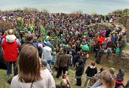 Hastings UK, May 3rd 2010, the crowd at Jack In The Green Festival, May Day Weekend, Hastings Castle Stock Photo - 6897733