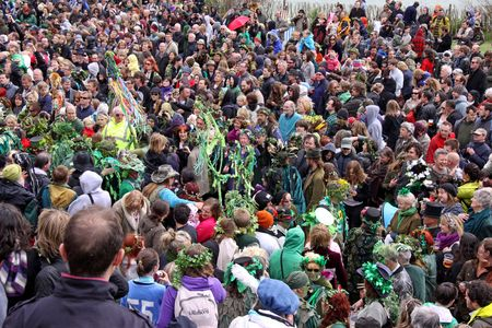 Hastings UK, May 3rd 2010, the crowd at Jack In The Green Festival, May Day Weekend, Hastings Castle Stock Photo - 6897745