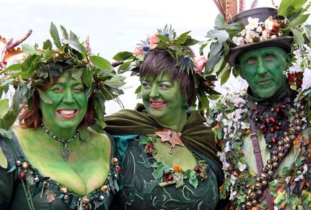 Hastings UK, May 3rd 2010: people in costume at Jack In The Green Festival, May Day Weekend, Hastings Castle Stock Photo - 6897833