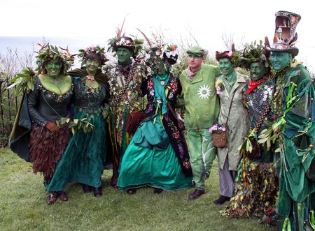 Hastings UK, May 3rd 2010: people in costume at Jack In The Green Festival, May Day Weekend, Hastings Castle