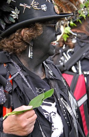 Hastings UK, May 3rd 2010: a costumed woman at Jack In The Green Festival, May Day Weekend, Hastings Castle