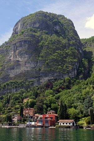 Landscape of tree covered mountains, village and Lake Como in Italy Stock Photo - 7092879