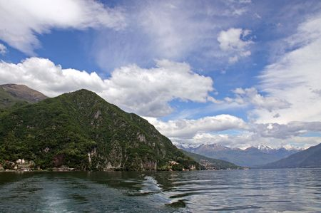 Scene of tree covered mountains and Lake Como in Italy Stock Photo - 7092855