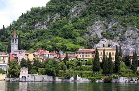 A hillside town and mountain at Lake Como Stock Photo - 7092947