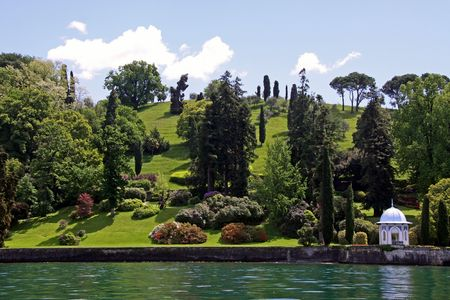 A pagoda and ornamental garden on the shore of Lake Como in Italy Stock Photo - 7092872