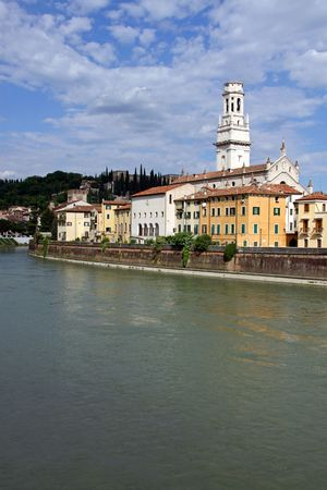 catholism: The Adige river and Duomo church bell tower in Verona, Italy