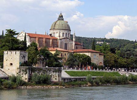 catholism: San Giorgio in Braida on the edge of the river Adige, Verona, Italy Stock Photo