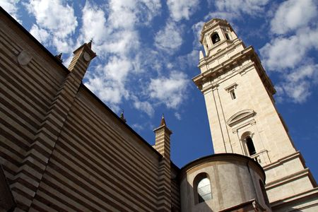 catholism: The Duomo church bell tower in Verona, Italy Stock Photo