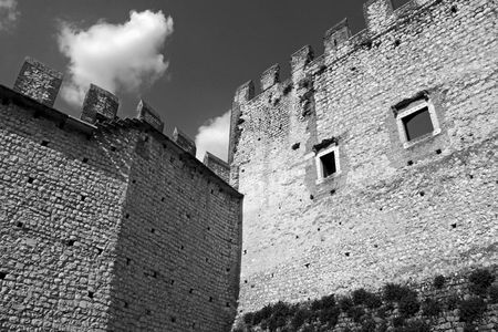 fortified: The fortified walls of an Italian castle Stock Photo