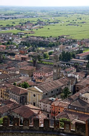 View from Scaligero Castle on Tenda Hill in Soave, Veneto, Italy, 23510 originally the property of one of Italys most famous families that over looks the town of Soave, well known for grape and wine production