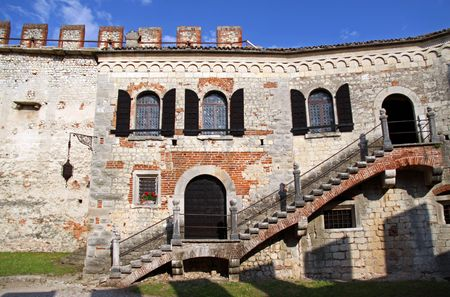 Scaligero Castle on Tenda Hill in Soave, Veneto, Italy, 23510 originally the property of one of Italys most famous families that over looks the town of Soave, well known for grape and wine production