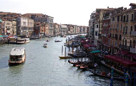 gondoliers: From the Rialto Bridge, Venice, Italy, 21510 tourist river boats and gondolas and gondoliers