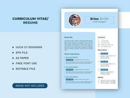 Modern curriculum vitae or resume designer template Vektorgrafik
