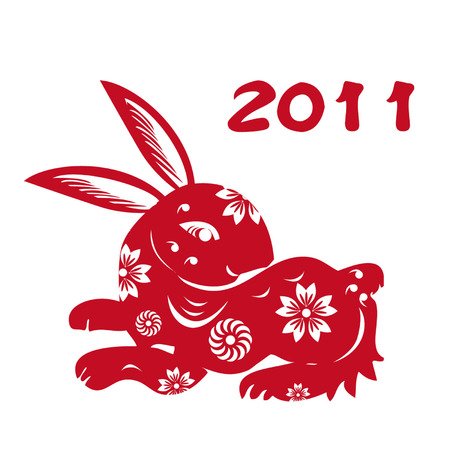 Chinese Zodiac of Rabbit Year,Chinese paper-cut of rabbit Vector