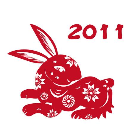 year of the rabbit: Chinese Zodiac of Rabbit Year,Chinese paper-cut of rabbit