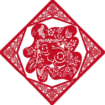 year of the rabbit: Chinese New year paper-cut
