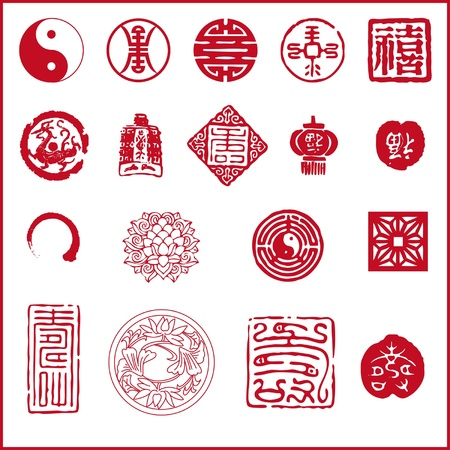 flores chinas: Icono de A�o Nuevo chino Vectores