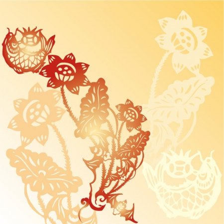 Chinese paper cut background Vector