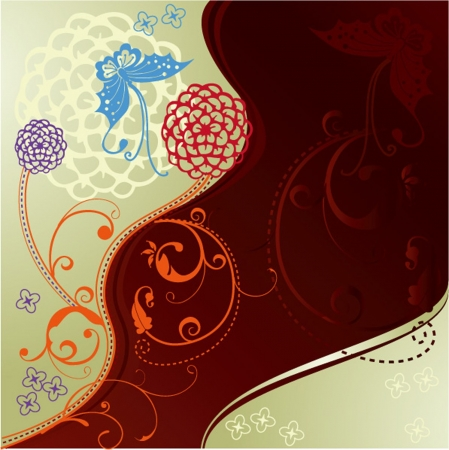 Chinese paper-cut flower background Vector