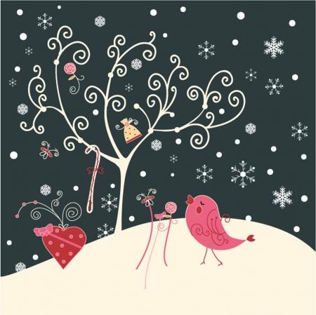 Tree and bird Vector