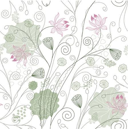 blumen cartoon: Lotus Blumenmuster