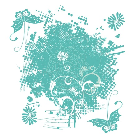 Flower and butterfly pattern, illustration Stock Vector - 23854781