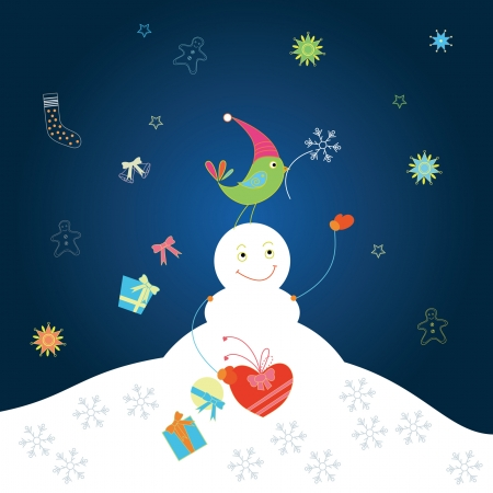 Christmas and holiday card with snowman Vector
