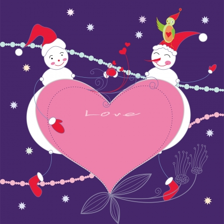 Chirstmas card with two cute snowmen and a bird Vector