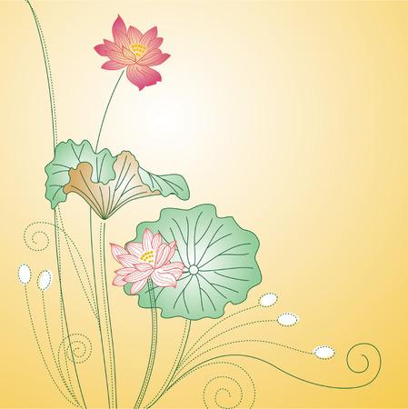 Design of beautiful red lotus Vector