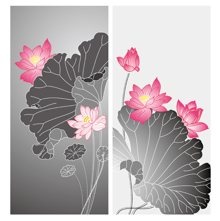 Lotus flower design. Chinese style lotus flower drawing card design
