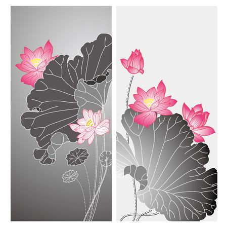 Lotus flower design. Chinese style lotus flower drawing card design Vector