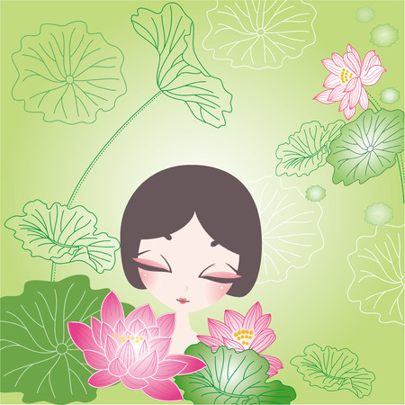 backgound: Cute lotus flower and girl backgound