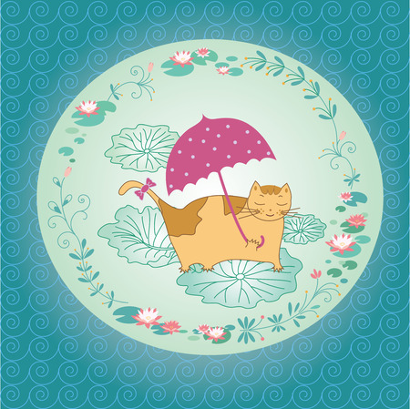 Greeting card of lotus flower and cat Vector