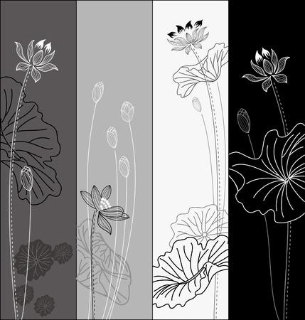 Set of lotus flower pattern Vector