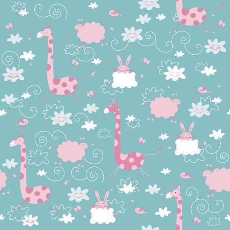animal texture: seamless cute animal texture Illustration