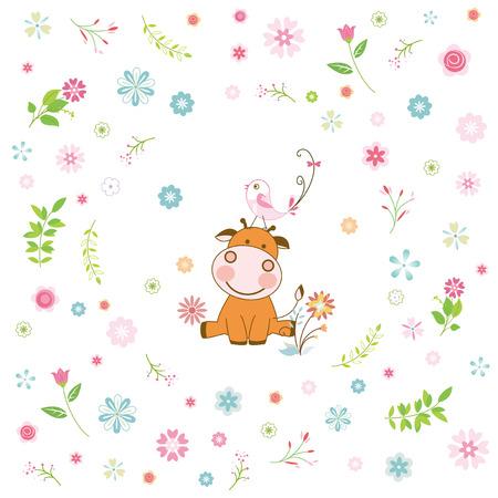 flower and cartoon animal greeting card Vector