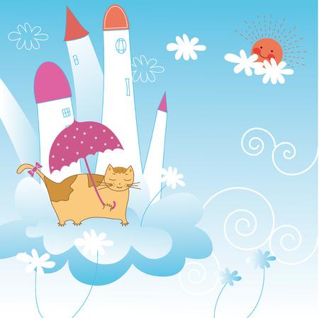 cute cartoon animals: Cute cartoon animals holiday greeting card Illustration