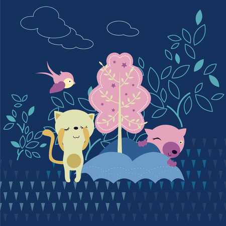 hide and seek: cute bear background Illustration