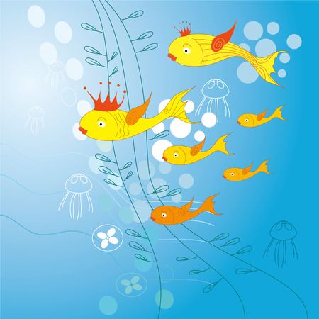 golden fish: golden fish background Illustration