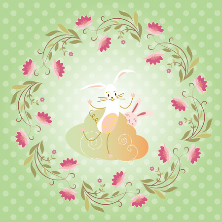 rabbit and flower background, holiday greeting card