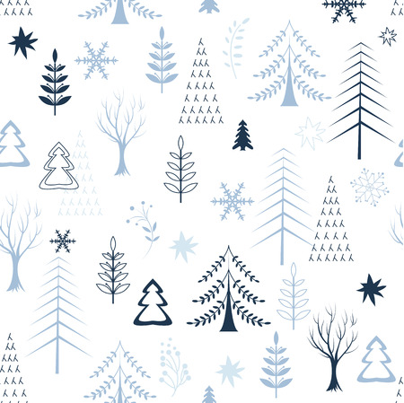 year profile: seamless winter tree design and texture