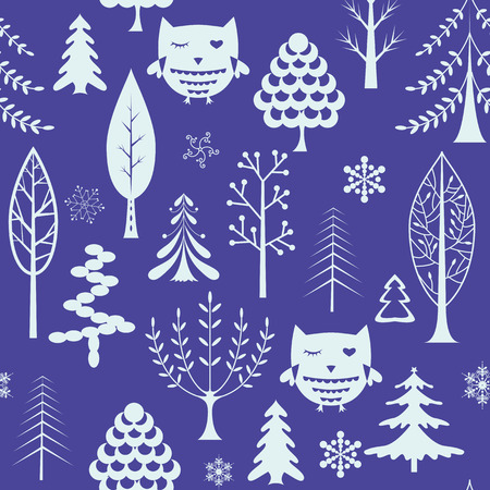 winter tree: winter holiday tree and owl background