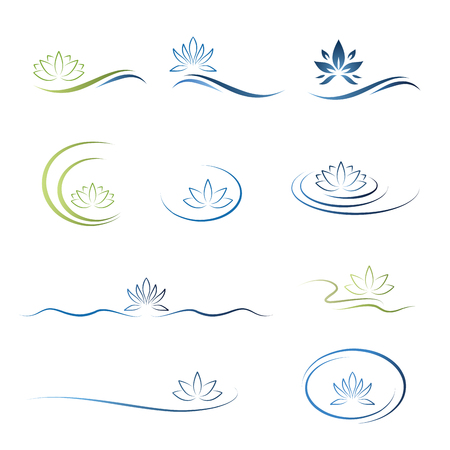 water lily, lotus flower icon set