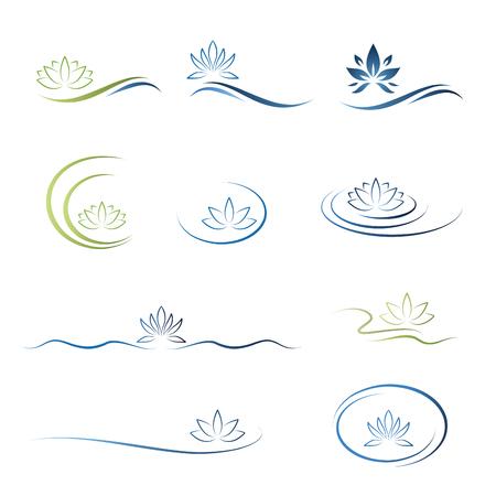 water lily, lotus flower icon set